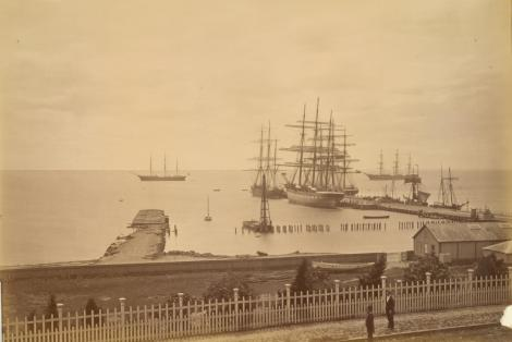 Yarra_Street_wharves,_Geelong_(c._1878)_by_Fred_Kruger